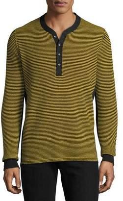 Ovadia & Sons Men's Zack Striped Henley Shirt