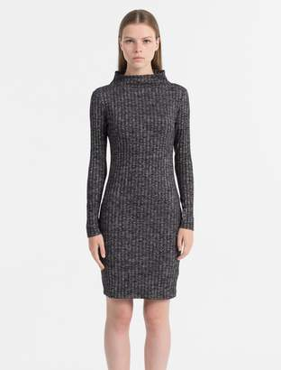 Calvin Klein fitted melange rib-knit dress