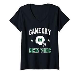 Womens Football Season Game Day in New York Football Fan V-Neck T-Shirt