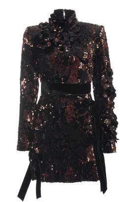 Elie Saab Paillette-Embellished Velvet Mini Dress