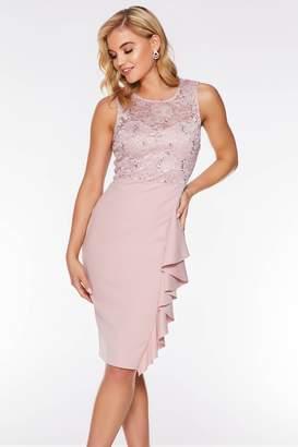 72b48335796 Quiz Blush Sequin Frill Midi Dress