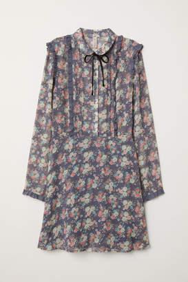 H&M Ruffled Chiffon Dress - Blue
