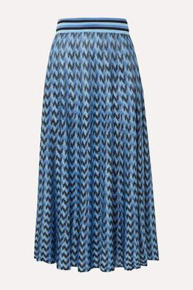 Rixo Brandy Houndstooth Knitted Midi Skirt - Blue