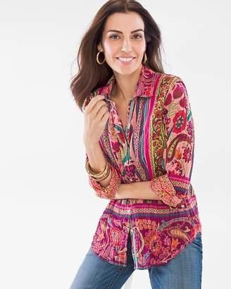 Chico's Cino For Paisley Border Crinkle Shirt