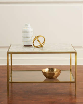 John-Richard Collection John Richard Collection Calcite Antiqued Brass Side Table