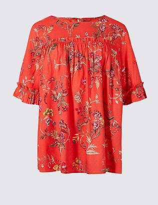 Marks and Spencer Floral Print Round Neck 3/4 Sleeve Blouse