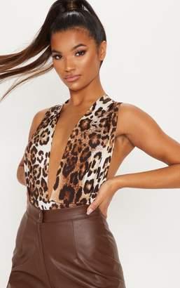 PrettyLittleThing Brown Slinky Leopard Print Plunge Bodysuit