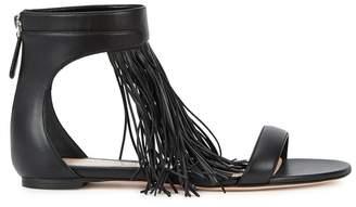 Alexander McQueen Black Fringed Leather Sandals