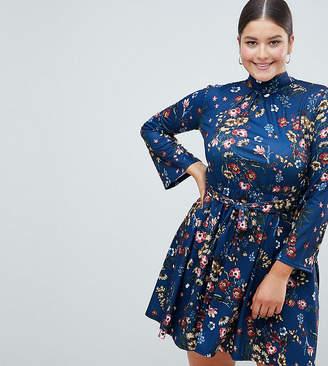 Club L Plus Floral Flute Sleeve Skater Dress