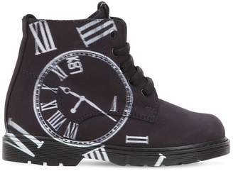 Be Kool CLOCK PRINTED LEATHER ANKLE BOOTS