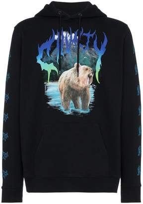Marcelo Burlon County of Milan bear print cotton hooded sweatshirt