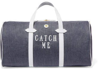 Paravel Main Line Duffel Leather-trimmed Printed Canvas Weekend Bag - Navy