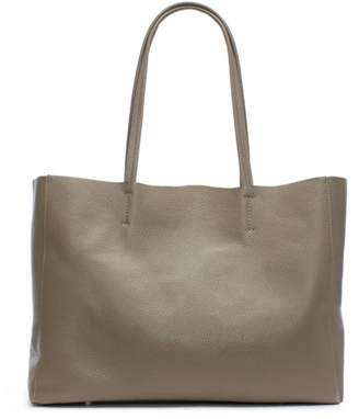 Taupe Leather Slouchy Tote Bag
