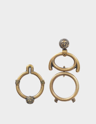 Carven Asymmetrical Earrings in Gold Brass