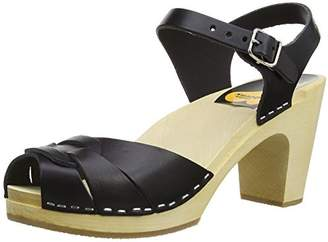 Swedish Hasbeens Women's Peep Toe Super High Platform Sandal,Black,38 EU (US Women's 8 M)