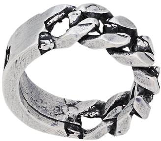 Heron Preston engraved curb chain ring