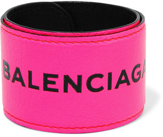 Balenciaga - Cycle Textured-leather Bracelet - Pink $195 thestylecure.com