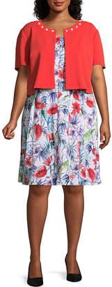 Perceptions Sleeveless Jacket Mid Length Dress - Plus
