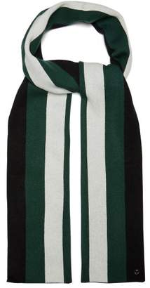 CHARLOTTE SIMONE Striped Wool And Cashmere Blend Scarf - Womens - Green
