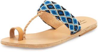 Neiman Marcus Elina Lebessi Dimitra Woven T-Strap Sandals, Blue/White
