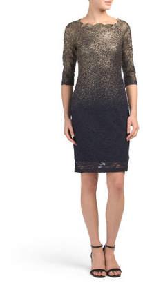 Petite Ombre Foil Lace Dress