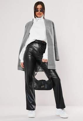 Missguided Gray inverted collar formal coat