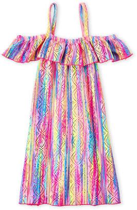 Angel Beach (Girls 7-16) Tie-Dye Pointelle Flounce Cover-Up