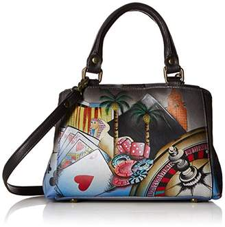 Anuschka Anna by Hand Painted Leather Women's Small MULTICOMPARTMENT Satchel