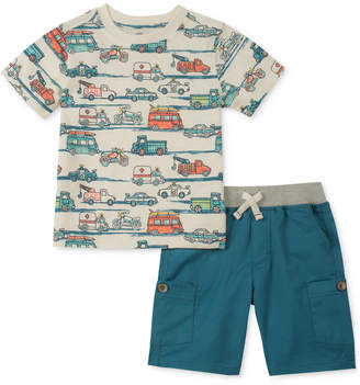 Kids Headquarters 2-Pc. Vehicle-Print T-Shirt & Cargo Shorts Set, Baby Boys