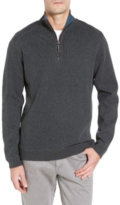Men's Tommy Bahama Flip Side Reversible Quarter Zip Twill Pullover $98 thestylecure.com