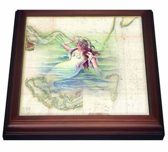 3dRose Print of Vintage Savannah River With Mermaid, Trivet with Ceramic Tile, 8 by 8-inch