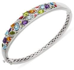 Lord & Taylor Sterling Silver and Multi Stone Bangle Bracelet
