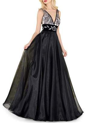Mac Duggal V-Neck Sleeveless Organza & Velvet Ball Gown w/ Metallic Embroidery