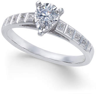 Macy's Diamond Miracle-Plate Pear Shape Engagement Ring (3/8 ct. t.w.) in 14k White Gold