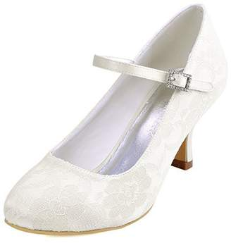 89d49d896c26 Elegantpark EP1085 Women Mid Heel Pumps Mary Jane Ankle Strap Buckle Lace Satin  Bridal Wedding Shoes