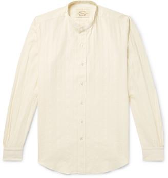 Holiday Boileau Ingalls Grandad-Collar Striped Cotton-Poplin Jacquard Shirt - Men - Cream