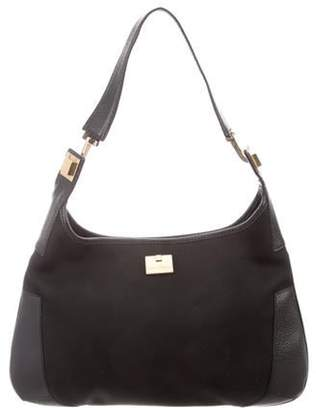 Salvatore Ferragamo Leather-Trimmed Nylon Hobo Black Leather-Trimmed Nylon Hobo