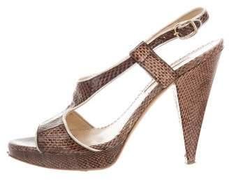 Oscar de la Renta Embossed Platform Sandals