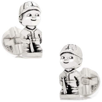 Cufflinks Inc. Baseball Bobblehead Sterling Silver Cuff Links