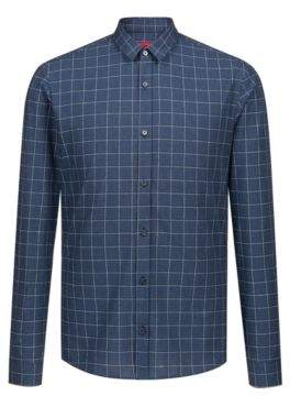 HUGO Boss Extra-slim-fit checkered shirt in cotton-blend boucle L Dark Blue