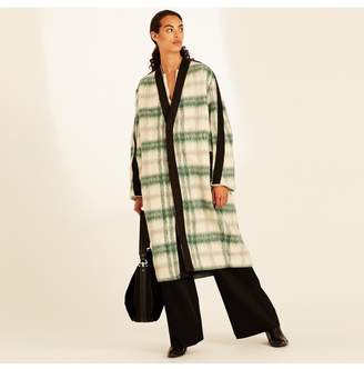 Amanda Wakeley Emerald Ecru Textured Mohair Check Coat