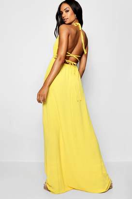 boohoo Tall Halter Neck Strappy Back Maxi Dress