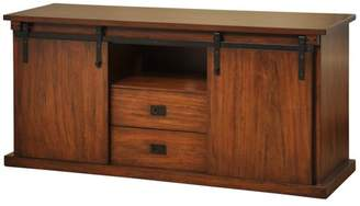 Generic Sliding Barn Door TV Cabinet with Two Center Drawers - Chestnut Brown Finish