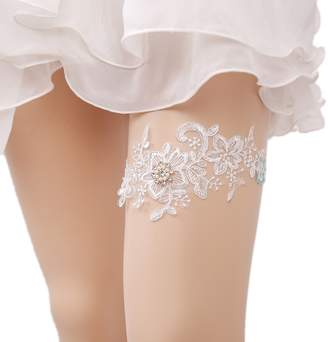 Wood Bury WoodBury White Bridal Garters Lace Floral Wedding Garters with Rhinestone