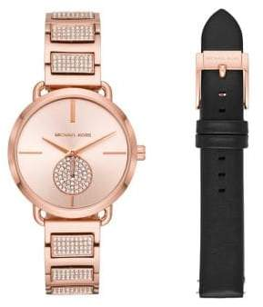 Michael Kors Portia Rose Gold-Tone Stainless Steel Analog Watch Set