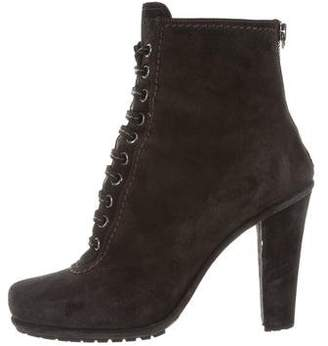 Miu Miu Lace-Up Round-Toe Booties