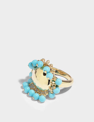 Aurelie Bidermann Ana Ring in Turquoise Resin and 18K Gold-Plated Brass