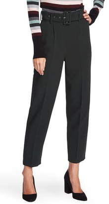 Vince Camuto Belted Stretch Crepe Slim Trousers