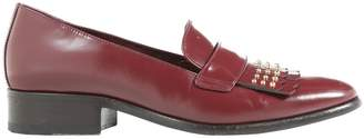 Alexander McQueen Burgundy Leather Flats