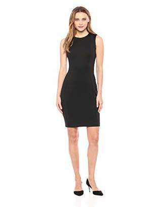 Calvin Klein Women's Petite Scuba Sleeveless Princess Seamed Sheath Dress